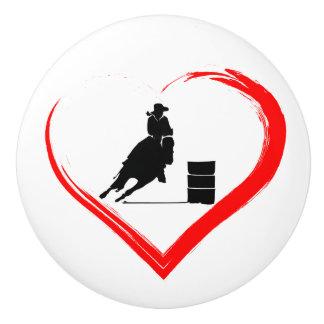 Bouton De Porte En Céramique Cheval d'emballage de baril de silhouette et coeur