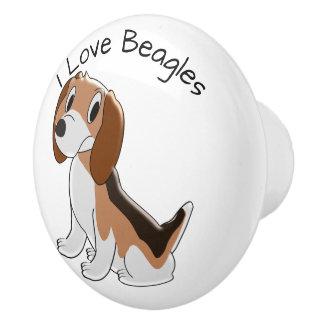 Bouton De Porte En Céramique Conception de chien de beagle