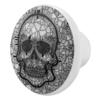 Bouton De Porte En Céramique Crâne en verre de mosaïque, blanc noir