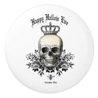 Bouton De Porte En Céramique Crâne et couronne vintages modernes de Halloween