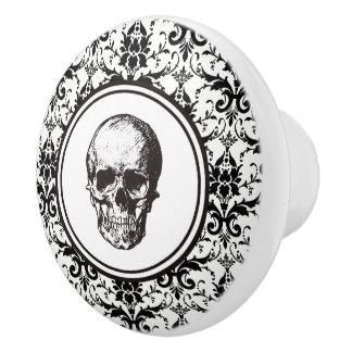 Bouton De Porte En Céramique Crâne noir et blanc de HALLOWEEN de damassé de
