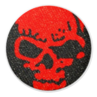Bouton De Porte En Céramique Crânes rouges sur le noir