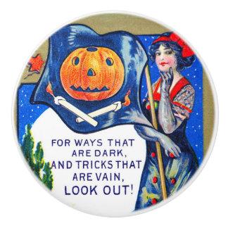 Bouton De Porte En Céramique De Falln de regard temps de Halloween