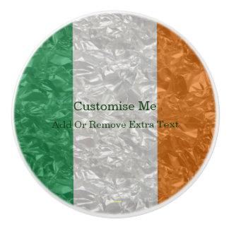 Bouton De Porte En Céramique Drapeau de l'Irlande - froissé