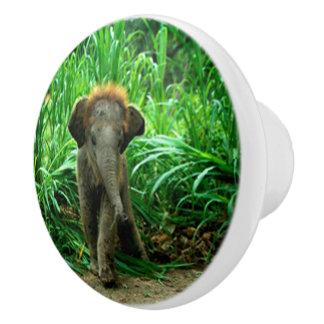 Bouton De Porte En Céramique Éléphant et herbe