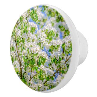 Bouton De Porte En Céramique Fleur de pomme sauvage