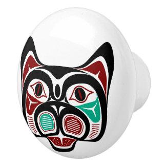 Bouton De Porte En Céramique Haida du nord-ouest Kitty de Côte Pacifique