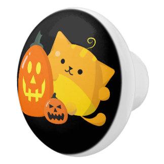 Bouton De Porte En Céramique Halloween personnalisable - chat de citrouille