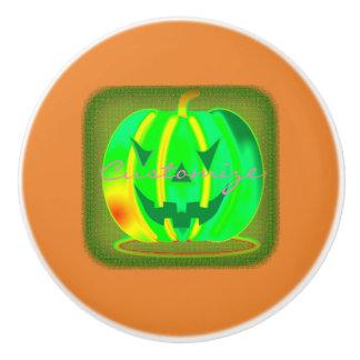 Bouton De Porte En Céramique Jack vert Halloween o'lantern Thunder_Cove
