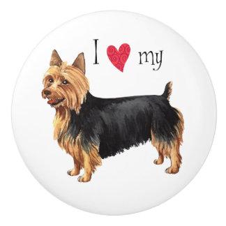 Bouton De Porte En Céramique J'aime mon Terrier australien
