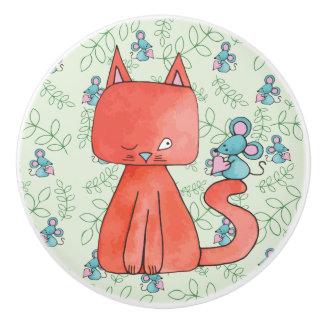 Bouton De Porte En Céramique La souris mignonne aime le chat de Kitty