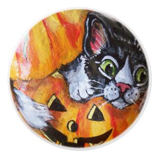 Bouton De Porte En Céramique Lanterne de Jack O de chat noir de traction de