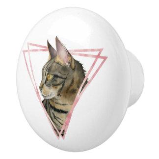 Bouton De Porte En Céramique Le chat tigré avec le Faux rougissent cadre
