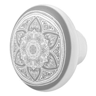 Bouton De Porte En Céramique Mandala en pierre