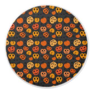 Bouton De Porte En Céramique Motif orange de citrouille de Halloween