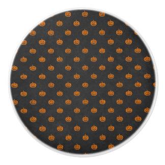 Bouton De Porte En Céramique Motif orange de tableau de citrouille de Halloween