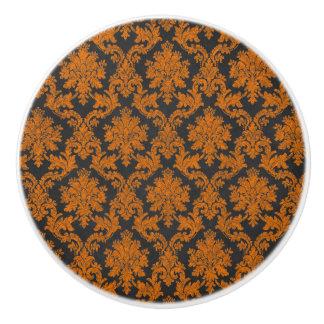 Bouton De Porte En Céramique Motif orange de tableau de damassé de Halloween