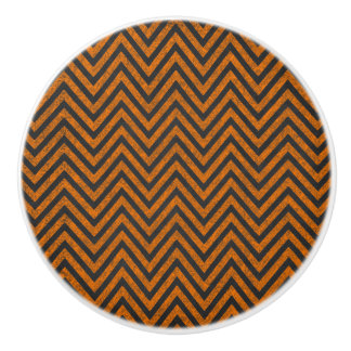 Bouton De Porte En Céramique Motif orange de tableau de Halloween Chevron