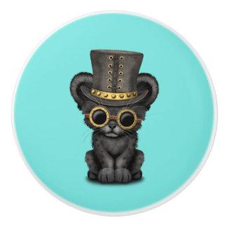 Bouton De Porte En Céramique Panthère noire mignonne CUB de Steampunk
