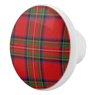 Bouton De Porte En Céramique Plaid de tartan écossais de Stewart de clan de