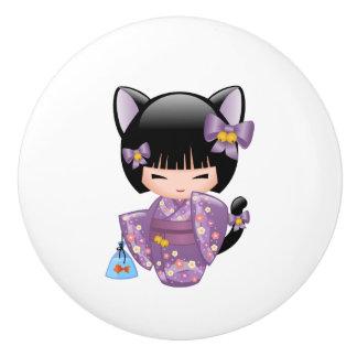 Bouton De Porte En Céramique Poupée de Neko Kokeshi - fille de geisha