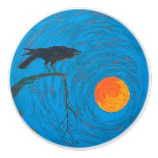 Bouton De Porte En Céramique Raven et pleine lune