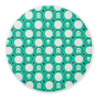 Bouton De Porte En Céramique Rétro motif de crâne de vert d'amusement