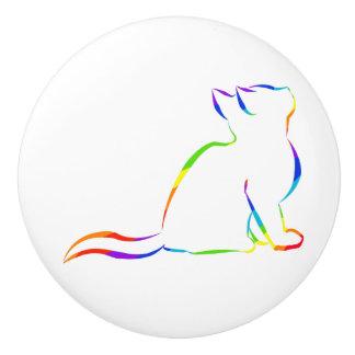 Bouton De Porte En Céramique Silhouette de chat d'arc-en-ciel