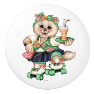 Bouton De Porte En Céramique Traction en céramique MIGNONNE 2 de CAT de ROULEAU