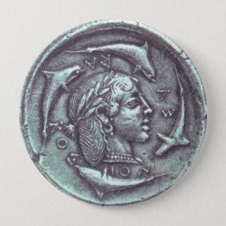 Bouton de portrait de dauphins de pièce de monnaie badge rond 10 cm