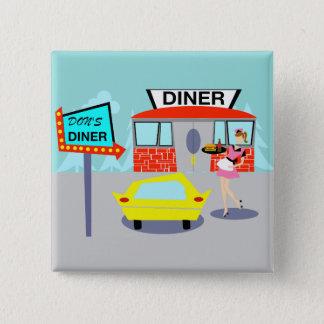 bouton de wagon-restaurant des années 1950 badge carré 5 cm