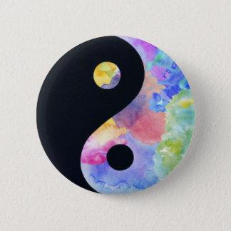 Bouton de Yin Yang de couleur d'eau Badge Rond 5 Cm