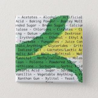 Bouton d'ingrédients d'allergie de maïs badge carré 5 cm