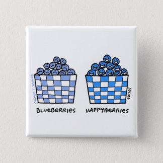 Bouton drôle de bande dessinée de myrtilles badge carré 5 cm