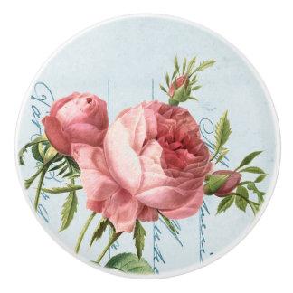 Bouton en céramique élégant de rose de cru et