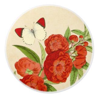 Bouton en céramique floral vintage rouge de fleur
