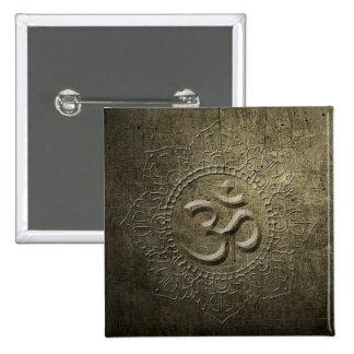 Bouton en métal de bronze de mandala de symbole badge carré 5 cm