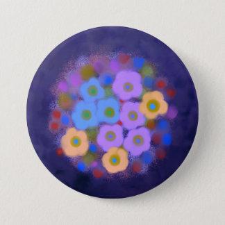 Bouton floral bleu violet mignon badge rond 7,6 cm