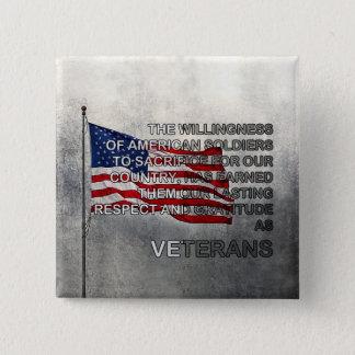 Bouton gagné de jour de vétérans de gratitude badge carré 5 cm
