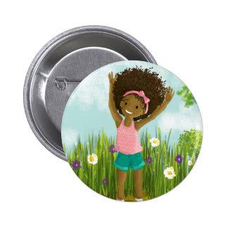 Bouton naturel de cheveux badge rond 5 cm