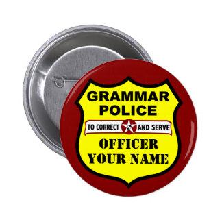 Bouton personnalisable de police de grammaire badge rond 5 cm