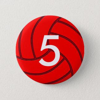 Bouton rond de volleyball de nombre rouge du badge rond 5 cm