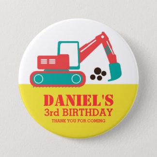Bouton rouge jaune d'anniversaire de enfant badge rond 7,6 cm