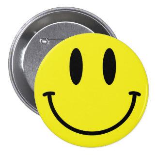 Bouton souriant de visage badge rond 7,6 cm