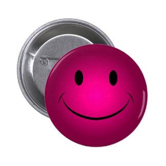 Bouton souriant rose de visage badge rond 5 cm