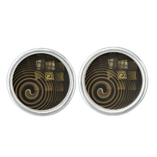 Boutons De Manchette Argent d'art abstrait d'hypnose plaqué