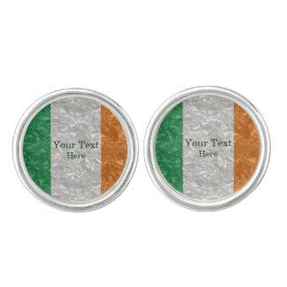 Boutons De Manchette Drapeau de l'Irlande - froissé