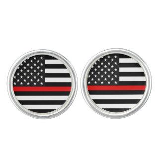 Boutons De Manchette Ligne rouge mince drapeau américain