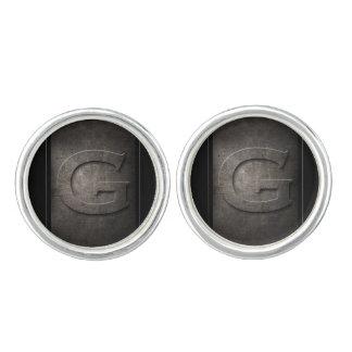 Boutons De Manchette Paires noires de monogramme en métal G de boutons