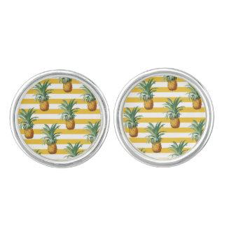 Boutons De Manchette rayures jaunes de pinepples